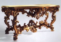 Console table, Rome? c. 1730 Lime, coniferous wood, gilded, marbled,  92 x 184 x 74 cm Liechtenstein Museum, Vienna