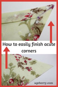 Finish acute corners easily, sewing tips, sewing techniques, sewing tutorials, step-by-step tutorial, learn to sew, how to sew corners, how to sew acute corners