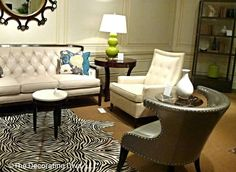 Sitting in Style: Sexy & glamorous chair in silver leather, with detailed nailhead trim and a shapely profile. #hpmkt
