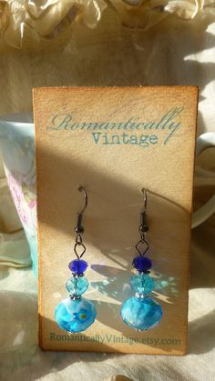 Turquoise Beaded Earrings Teal Shabby by RomanticallyVintage, $22.50