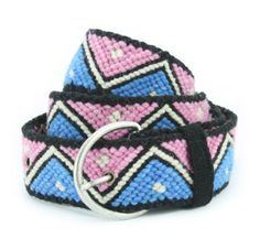 Hand Braided Wool Belt by KaniArts on Etsy Zig Zag Blue and Pink