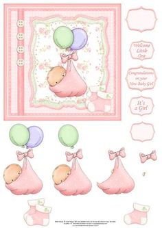 BABY GIRL BALLOONS Card Topper Decoupage on Craftsuprint designed by Janet Briggs - New baby girl card topper with 3d step by step decoupage.Features cute baby bundle with balloons and bootee embellishments.Several sentiment tags, including one blank. The others read,Welcome Little OneIt's a GirlCongratulations on your new baby girlSmall and larger sentiment tags, useful if you wish to use the tag as a stopper on an easel card. - Now available for download!