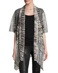 Mixed-print Open-front Cardigan, Gray