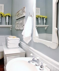Get the Look: Vintage Farmhouse Bathroom Farmhouse Bathroom Accessories, Modern Farmhouse Bathroom, Bathroom Wall Decor, Bath Decor, Bathroom Styling, Farmhouse Chic, Bathroom Ideas, Bath Ideas, Vintage Farmhouse
