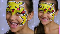 "Pokemon GO ""Pikachu"" — Makeup for Kids & Face Painting Tutorial Hulk Face Painting, Pikachu Face Painting, Monkey Face Paint, Dinosaur Face Painting, Dragon Face Painting, Face Painting For Boys, Doll Face Paint, Face Paintings, Tole Painting"
