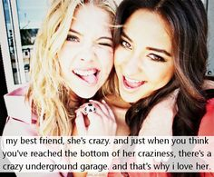 Shay Mitchell and Ashley Benson may play BFFs on Pretty Little Liars, but their friendship goes far beyond the small screen. Since meeting on set, the ladies Shay Mitchell, Ashley Benson, Hanna Marin, Best Friend Quotes, Best Friend Goals, Friend Pics, Bff Quotes, Friend Pictures, Sister Quotes
