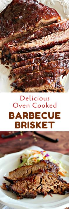 Delicious Oven Cooked Barbecue Brisket marinated overnight in liquid smoke and then slow cooked to perfection #barbecue #dinnerideas #meatrecipes #foods