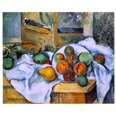 Paul Cezanne Table- Napkin and Fruit - 16 x 20 Scant Canvas Print Gallery Wrapped
