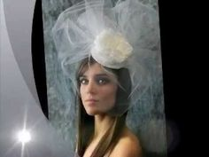 Bridal Hat Veil with Pouf Veil and Peony Flower