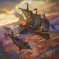 Digital paintings by Flavio Bolla. Drawing since he was 3 years old, Flavio Bolla came in first contact with the world of Concept Art in Pirate Steampunk, Steampunk Ship, Steampunk Kunst, Sci Fi Fantasy, Fantasy World, Flying Ship, Bateau Pirate, Treasure Planet, Fantasy Setting