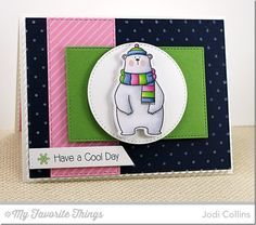 Cool Day stamp set and Die-namics, Diagonal Stripes Background, Swiss Dots Background, Horizontal Stitched Strips Die-namics, Stitched Circle STAX Die-namics, Stitched Rectangle STAX Die-namics - Jodi Collins #mftstamps