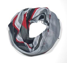 SALE-Unisex Scarf-Grey red black color  Cotton Mixcolor by Periay