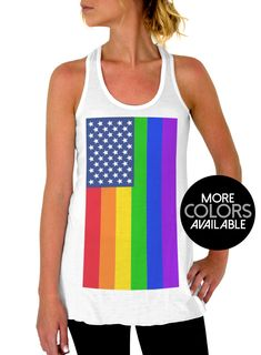 796fde612ac64e American Rainbow Flag - Gay Pride - American Pride - Flowy Tank Tops -  Fourth of
