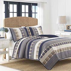 Nautica Reversible Blue White Cotton Horizontal King Size Patchwork Quilt #Nautica #ClassicTraditional