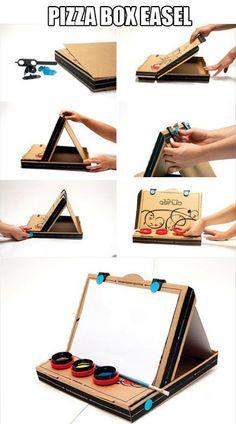 #DIY Soporte para pintar con una caja de pizza, desde ELMundoDelReciclaje.blogspot.mx