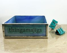 Blue Green Glass Desk Tray Home Office Decor by BalsamrootGlass