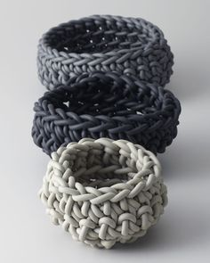 These hand knit neoprene baskets have an industrial look and add flexible storage to any living space. Buy them here: http://www.bhg.com/shop/horchow-medium-neoprene-basket-p505bb7a982a71c80fdfc2e7e.html?socsrc=bhgpin101812shopneoprenebasket