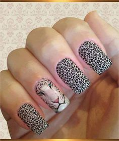 The cheetah nails could be painted in variety of colors and designs. Check out the collection of cute nail art design inspired exotic fashion style. Cheetah Nail Art, Cheetah Nail Designs, Leopard Print Nails, Cute Nail Art Designs, Nail Deco, Hair And Nails, My Nails, Tiger Nails, Lion Nails