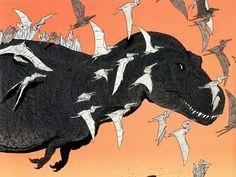 Tyrannosaurus and pterosaurs // Ricardo Delgado Prehistoric Wildlife, Prehistoric World, Prehistoric Creatures, Jurassic World, Cool Dinosaurs, Les Reptiles, Dinosaur Art, Dinosaur Crafts, Carnivore