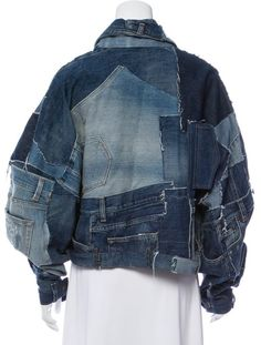 Medium and light wash blue Dolce & Gabbana oversize distressed denim patchwork jacket with pointed collar, contrast stitching throughout and button closures at front. Oversized Denim Jacket, Denim Jacket Men, Jeans Denim, Denim Jackets, Denim Men, Men Shorts, Jean Jacket Outfits, Denim Outfit, Painted Denim Jacket
