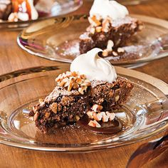 Pecan fudge pie with bourbon whipped cream. Kentucky Derby perfect.