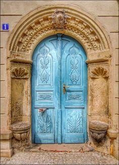 Blue Door in Dresden, Saxony, Germany