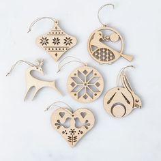Laser-Cut Maple Scandinavian Ornaments