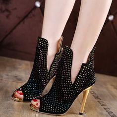 Shoespie Chic Black Rhinestone Peep Toe Fashion Booties