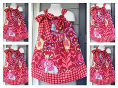 Custom Made Pillowcase Dress-0-8 years old-Amy Butler Fabric -Love Collection-Paradise Garden in Wine. $18.00, via Etsy.