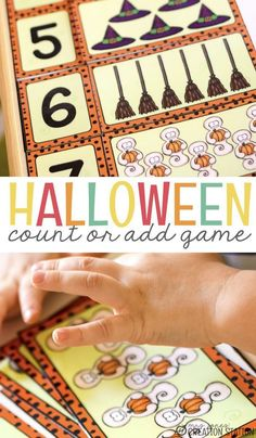 Here is a fun Halloween game you can do with your students! In this game you can do several different things like count, number identification, order numbers, addition to 12, or compare groups by more or less. Choose to do one or to explore ALL of these math skills together by using one adorable Halloween math game. Download the free printable and have some fun with Halloween math! #Halloweenmath #mathgames #math #fallgames #freeprintable #additiongames #countinggame