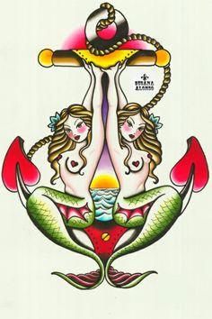 Two Mermaids Art Print