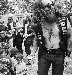 Persuasion and Propaganda can be seen in many aspects of culture. Groups like the hells angels use their image of a biker gang or motorcycle club to assert certain facts. Visual keys like patches represent rank much like the military. Biker Clubs, Motorcycle Clubs, Sonny Barger, Harley Davidson, Best Short Films, Hells Angels, Biker Chick, Look At You, Bikers