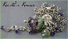 PMC Recycled Fine Silver Gemstone and Lampwork by kristaskorner