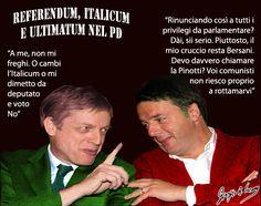 Bersani resiste a Renzi e reclama per sé il diritto ad essere sfrattato dall'esercito