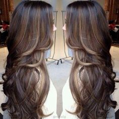 Beautiful cut, color,  and style! Brunette hair. Brown dye with blonde / bronde highlights!  Layers and curls.  Curly layers. Wavy hair. Long. Long layers. Layered hair.