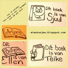 """Vanwege de kinderboekenweek 20% korting op """"dit boek is van....""""-stempels bij mimstasjes.blogspot.com"""