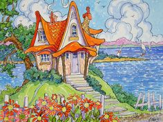 """Peinture """"A Bit of Whimsy on the Shore"""" par Alida Akers (série Storybook Cottage)"""