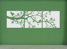 vinyl decal: tri-panel branch with birds $25