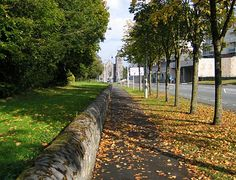 North campus leading to the town. The church in the middle background is the one I attended. (Maynooth)