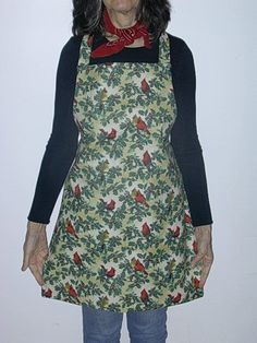 Reversible Full Apron Holly and Cardinals by TheLazyChickenCoop, $10.00