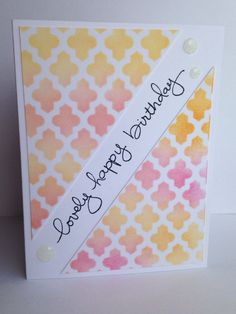 Stenciled Happy Birthday card by KGHCards on Etsy