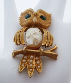 1970s J.J. Owl Pin with Pearls and Emerald by PattycatsTreasures