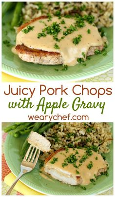 You've GOTTA try these perfectly juicy pork chops smothered in velvety apple gravy. Supper Recipes, Pork Recipes, Cooking Recipes, Juicy Pork Chops, Apple Pork Chops, Green Apple Recipes, Pork Cutlets, Chops Recipe, Deserts