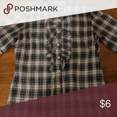 Plaid delias 3/4 button up It's in excellent condition worn a couple times Tops Button Down Shirts