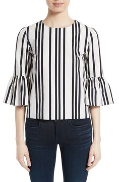 Online Cheap ruffle-sleeve stripe blouse - White See By Chloé Sale Fashionable Collections Cheap Online Inexpensive trMSFfZ5
