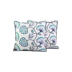 NOVICA Floral Midnight Blue Cotton Cushion Covers (Pair) from India (€28) ❤ liked on Polyvore featuring home, home decor, throw pillows, cushion covers, pillows & throws, teal, indian throw pillows, teal accent pillows, flowered throw pillows and navy blue accent pillows