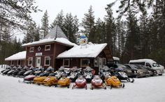 The premises of Arctic Circle Snowmobile Park are located in Santa Claus Village in Rovaniemi in Finnish Lapland - Arctic Circle Snowmobile Park – Rovaniemi Safaris – Lapland - Finland Santa Claus Village, Santa's Village, Safari, Lapland Finland, Excursion, Arctic Circle, Winter Time, Travel Destinations, December