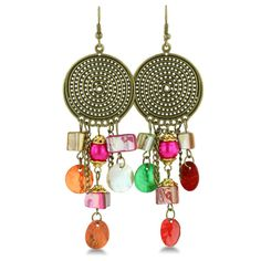 Multi Colored Chandelier Earrings   Party Time Multi-Colored Beaded Chandelier Earrings, 2 1/2 Inches