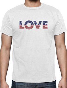 81bc3b4c2 LOVE USA American Flag 4th of July Patriot Men's Short Cool Shirts, American  Flag,