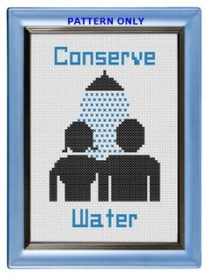 Pattern Funny Cross Stitch Conserve Water Bathroom by CrassCross, $5.00